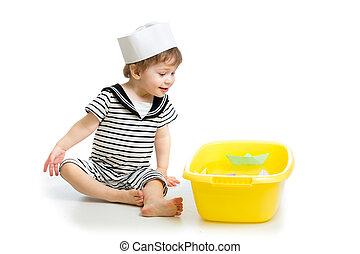 CÙte, Junge,  baby, Seemann, Papier, Boote, spielende, Kleidung