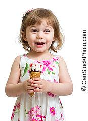 アイスクリーム, 女の子, 食べること, うれしい, 子供