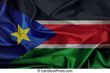 South Sudan grunge waving flag