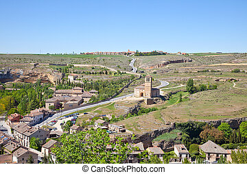 Outskirts of city Segovia and temple of the Knights Templar...