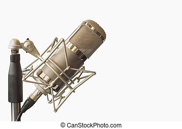 Condenser microphone in holder, isolated on white