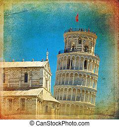Pisa - Piazza dei Miracoli complex with the leaning tower of...