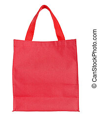 red canvas shopping bag isolated on white background with...