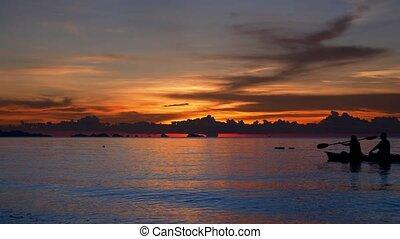 Boat Sailing at Sunset ,  Thailand