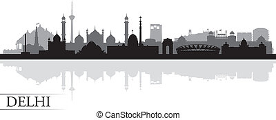 Delhi city skyline silhouette background, vector...