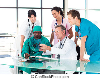 estudar, médico, Raio X, equipe
