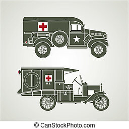 Vintage Military Ambulances - Profile line art of two old...