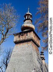 old wooden antique  church in poland in rabka