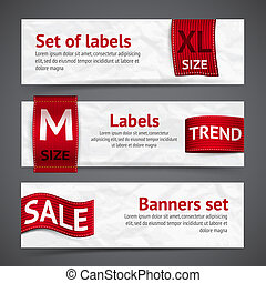 Clothing labels banners - Clothing size trend sale red label...