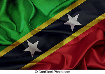 Saint Kitts and Nevis grunge waving flag