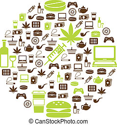 addiction icons in circle