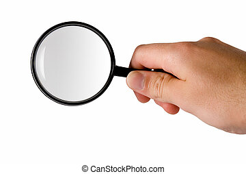 Magnifying glass searching - Magnifying glass hold in right...