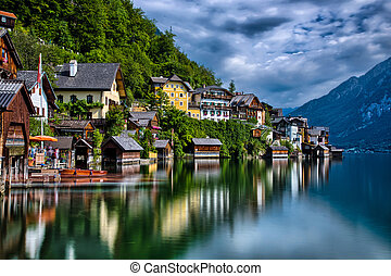 Hallstatt - View of the small historical village in Austria...