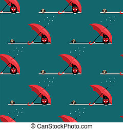 seamless pattern with cat and sparrow with umbrella