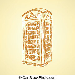 Sketch London phone cabin, vector background - Sketch London...