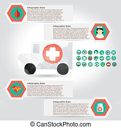 Vector medical infographic element with icon in crumpled...
