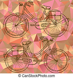 Sketch bicycle on triangles background eps 10