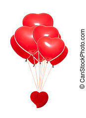 Fancy box with a red heart-shaped balloon, isolated against...
