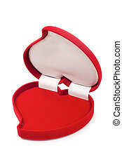 Open an empty red heart-shaped fancy box, isolated against...