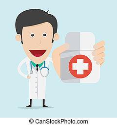 Doctor wearing a medical suit holding drug bottle