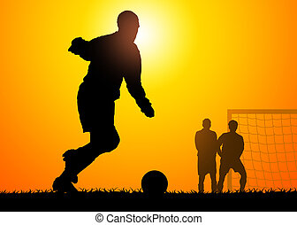 Soccer game - shapes of men who play to soccer