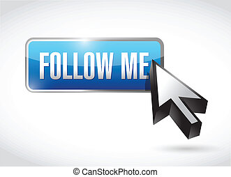 follow me button post illustration design over a white...