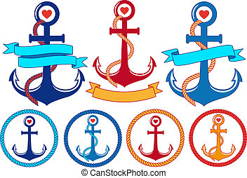 anchors with ribbons, vector set - anchors with rope,...