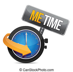 me time watch and sign illustration design over a white...