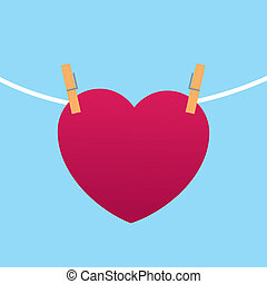 Heart Clipped to String - Heart clipped to string with blue...