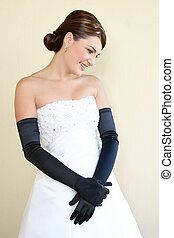 Smiling Bride - Beautiful Bride in a white dress with fancy...