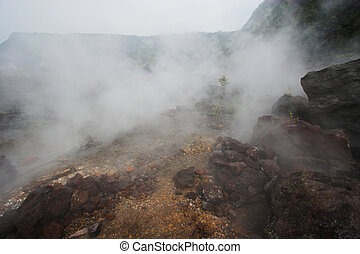 Crater bottom - Barren bottom of Kilauea Crater with sulfur...