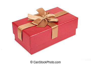 Red fancy box on white background - Red fancy box isolated...