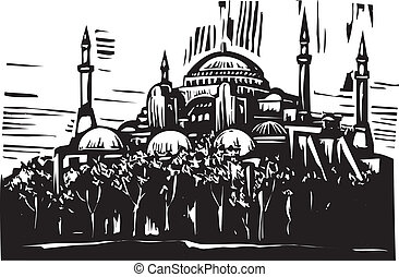 Hagia Sophia - Woodcut style image of the Greek Orthodox...
