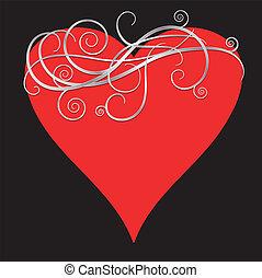 SILVER ORNATE SWIRL HEART