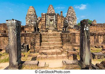 guardián, leones, Estatuas, Easten, Mebon, camboya