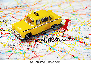 bruxelles taxi - push pin pointing at Brussels, Belgium and...