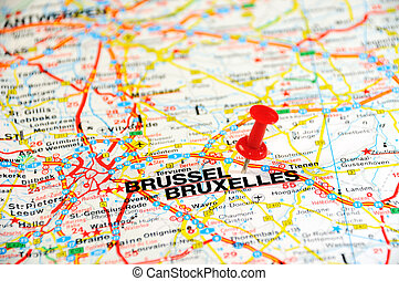 bruxelles pin - Red push pin pointing at Brussels, Belgium