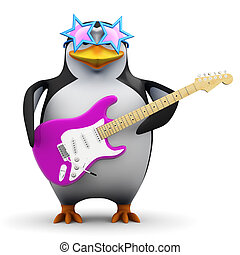 3d Funky penguin with guitar - 3d render of a penguin...