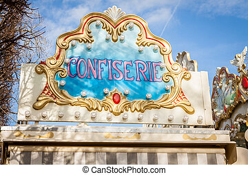 Ornate carousel or merry-go-round - Ornate round painted...