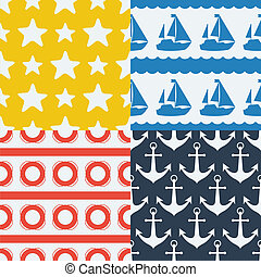 Nautical seamless patterns set in flat design style.