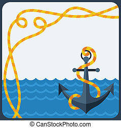 Nautical card with anchor and rope in flat design style.