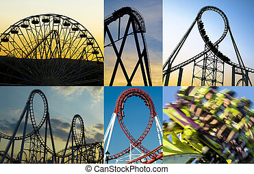 Roller Coasters - Collage of some amazing roller coasters.