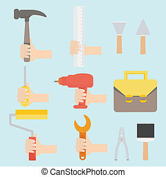 Vector illustration of tool set in flat design