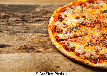 Bolognese pizza on wooden table - Bolognese pizza on old...
