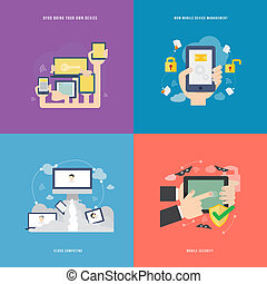 Element of mobile technology concept icon in flat design