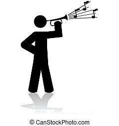 Playing a bugle - Icon illustration showing a man playing a...