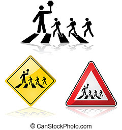 Crossing the street - Icon illustration showing a crossing...