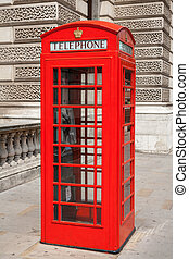 Telephone booth London, UK - Red telephone box at London...