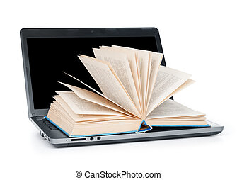 laptop and open vintage book on white background