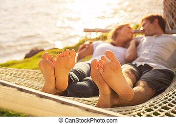 par, relaxante, tropicais, Rede